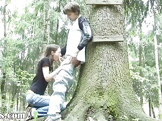 Venture blowjob in the forest